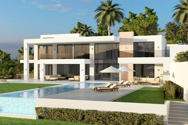 Designed in 3 levels with panoramic views over the valley and towards the sea   Montemayor